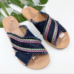 Ancient Greek Sandals Dark Denim Thais 38 US 8